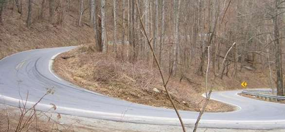 Rt-80 hairpin curve with skid marks