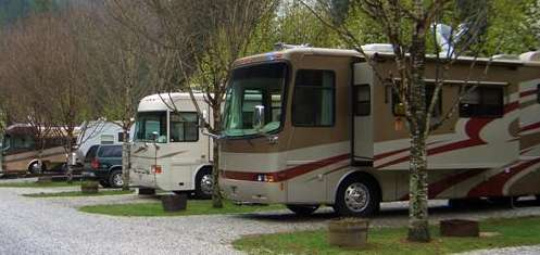 Row of motorhomes